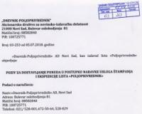 Poziv za dostavljanje ponuda u postupku nabavke usluge stampanja i ekspedicije lista
