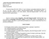 """Poziv za redovnu sednicu Skupštine """"Dnevnik-Poljoprivrednik"""" AD Novi Sad, koja će se održati 10.06.2019. godine sa početkom u 10 časova"""